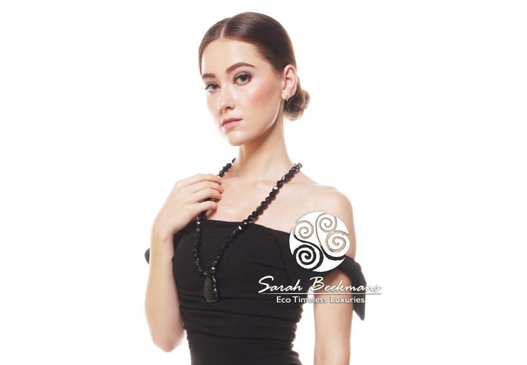 Black horn necklace black dress