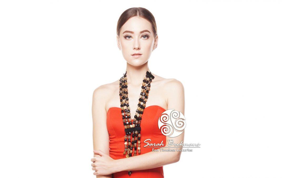 Black horn necklace red dress