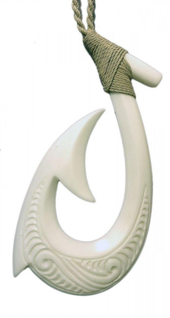 Bone horn necklace fishhook