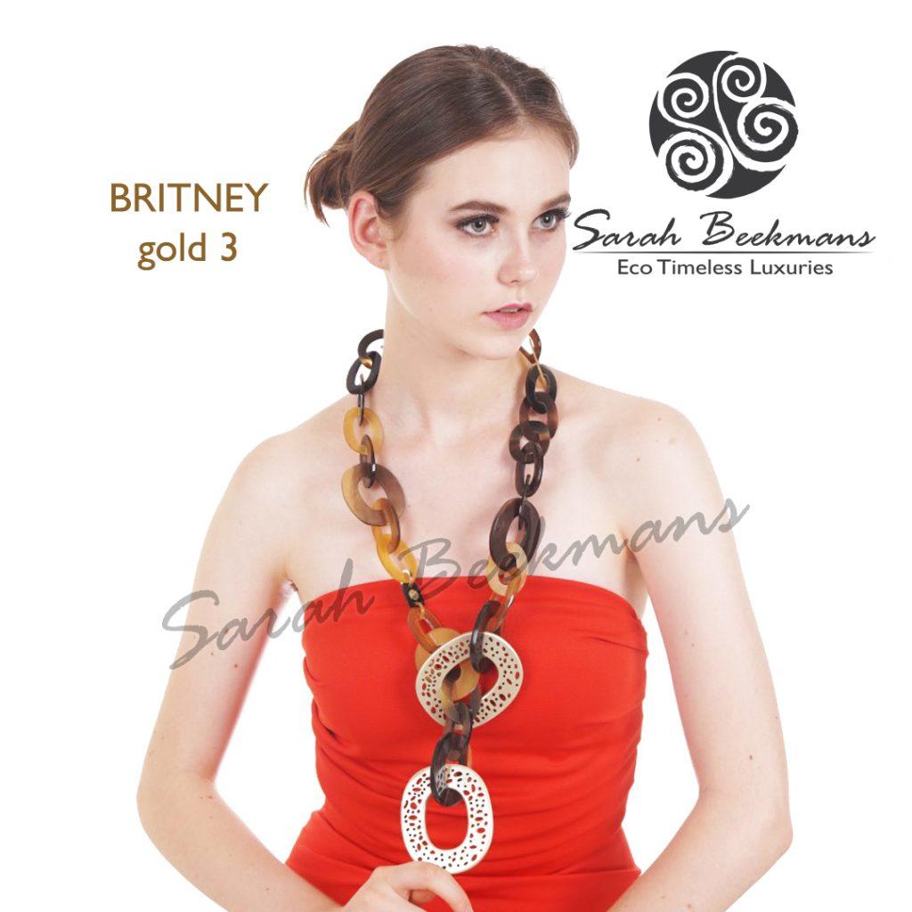 Gold horn necklace britney