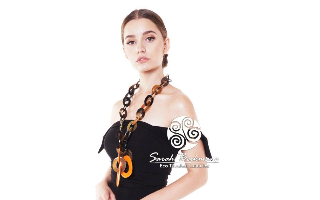 cow horn necklace orange