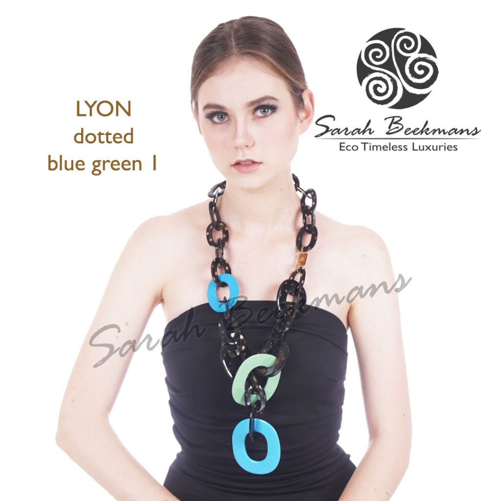 Horn necklace meaning lyon dotted blue green